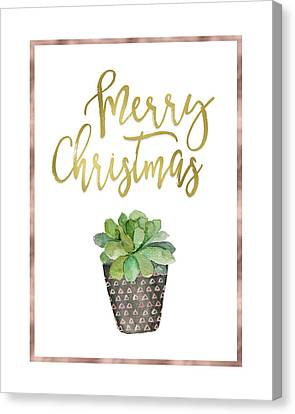 Christmas Cactus Canvas Print - Merry Christmas Succulent by Tara Moss