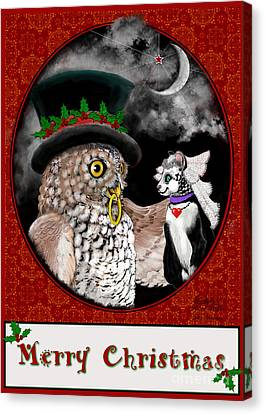 Merry Christmas Sweethearts Canvas Print by Carol Jacobs