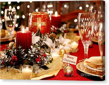 Merry Christmas Table Canvas Print by Pattie Calfy