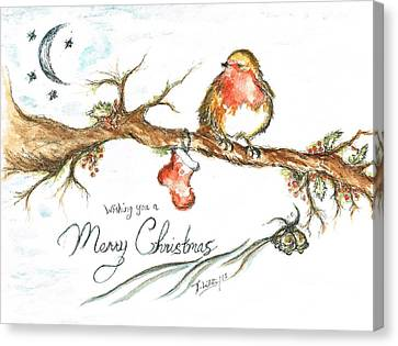 Merry Christmas Robin Canvas Print