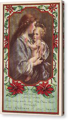 Merry Christmas Virgin And Child Canvas Print by Olde Time  Mercantile