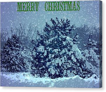 Merry Christmas Winter Scene Canvas Print by Dan Sproul