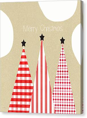Merry Christmas With Red And White Trees Canvas Print