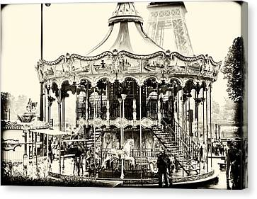 Merry Go Round And Eiffel Tower Canvas Print