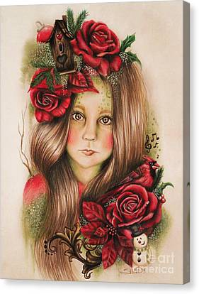 Canvas Print featuring the drawing Merry by Sheena Pike