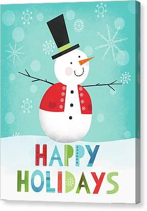 Merry Snowman I Canvas Print by Lamai Mccartan