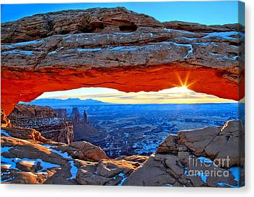 Mesa Arch Sunrise Canvas Print by Adam Jewell