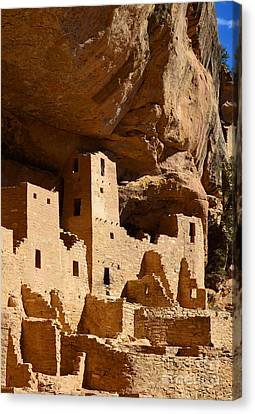 Mesa Verde National Park Cliff Palace Pueblo Anasazi Ruins Vertical Canvas Print by Shawn O'Brien