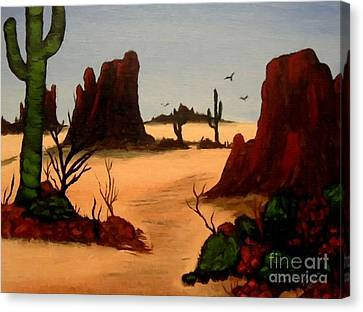 Hot Nurses Canvas Print - Mesas Buttes And Cactus by Barbara Griffin