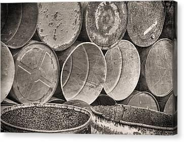 Metal Barrels 2bw Canvas Print