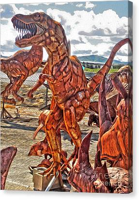 Metal Dinosaurs - 03 Canvas Print by Gregory Dyer