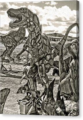 Metal Dinosaurs - 04 Canvas Print by Gregory Dyer