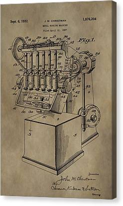 Metal Working Machine Patent Canvas Print