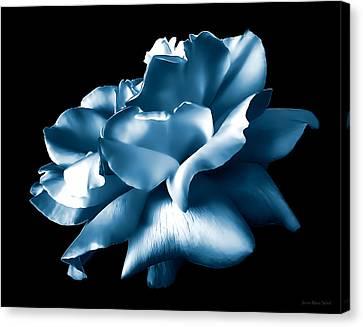 Metallic Blue Rose Flower Canvas Print by Jennie Marie Schell