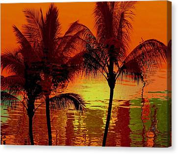 Tropical Sunset Canvas Print - Metallic Sunset by Athala Carole Bruckner