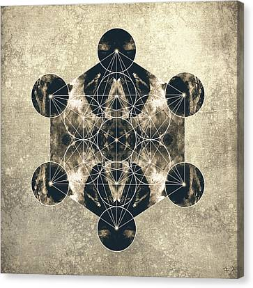 Metatron's Cube Silver Canvas Print by Filippo B