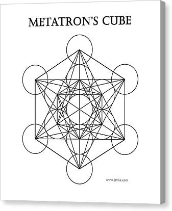 Metatron's Cube - White Canvas Print by Jelila Jelila