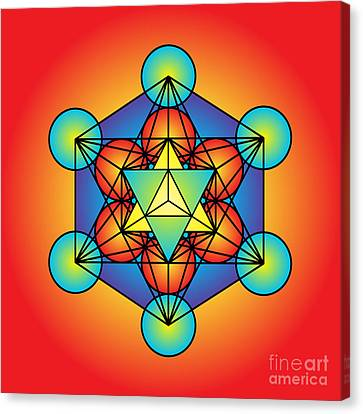 Metatron's Cube With Merkaba Canvas Print by Galactic  Mantra