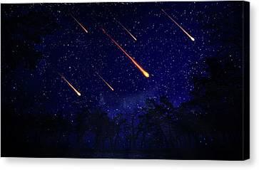 Meteor Shower Canvas Print by Andrzej Wojcicki