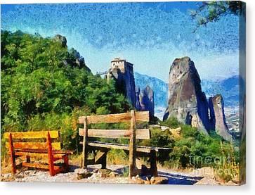 Benches Canvas Print - Meteora by George Atsametakis