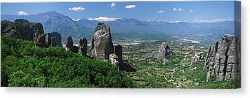 Meteora Monastery Greece Canvas Print by Panoramic Images