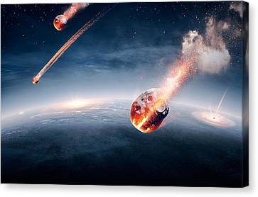 Destruction Canvas Print - Meteorites On Their Way To Earth by Johan Swanepoel