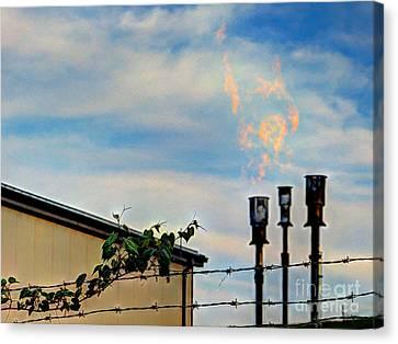 Methane Flares Canvas Print by MJ Olsen