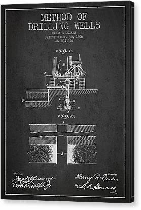 Method Of Drilling Wells Patent From 1906 - Dark Canvas Print by Aged Pixel