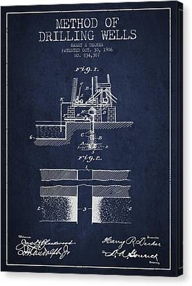 Method Of Drilling Wells Patent From 1906 - Navy Blue Canvas Print by Aged Pixel