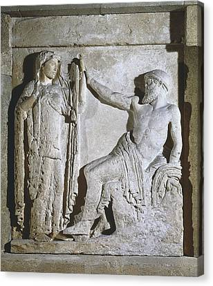 Zeus Canvas Print - Metope With Hera And Zeus. Metope by Everett