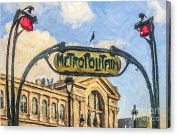 Metro Gare Du Nord Canvas Print by Liz Leyden