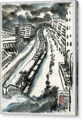 Canvas Print featuring the painting Metro Train At Central Wester-end by Ping Yan