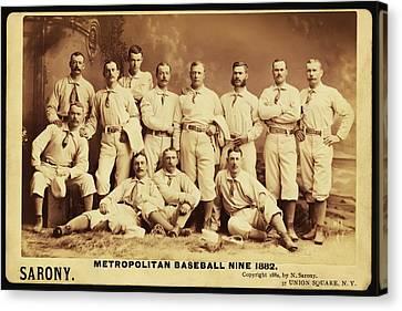 Metropolitan Baseball Nine Team In 1882 Canvas Print by Bill Cannon