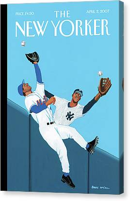 Mets Canvas Print - Mets And Yankees Players Cross Paths Trying by Bruce McCall