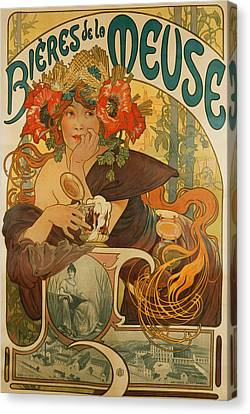 Meuse Beer Canvas Print by Alphonse Marie Mucha