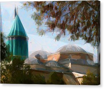 Mevlana Rumi Mosque In Konya Turkey Canvas Print by Celestial Images