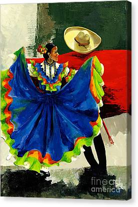 Mexican Dancers Canvas Print by Elisabeta Hermann