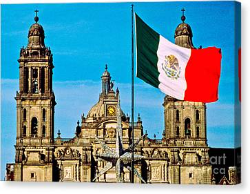 Mexican Flag And Cathedral Canvas Print