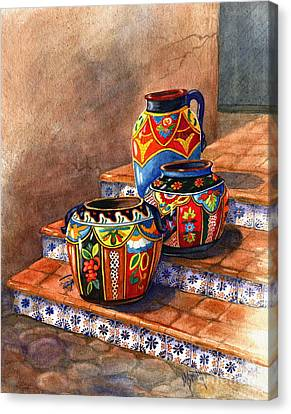Clay Pottery Canvas Print - Mexican Pottery Still Life by Marilyn Smith
