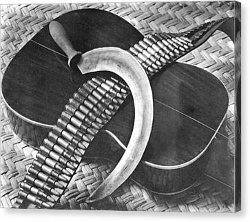 Mexican Revolution Guitar, Sickle Canvas Print by Tina Modotti