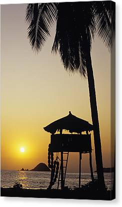 Simple Beauty In Colors Canvas Print - Mexico, Silhouette Of Beach Bungalow by Bill Schildge