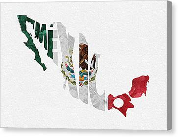 Mexico Typographic Map Flag Canvas Print