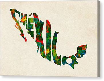 Mexico Typographic Watercolor Map Canvas Print