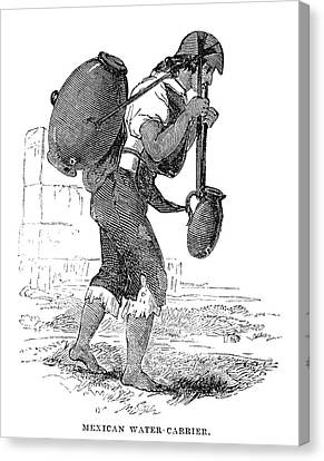 Water Jars Canvas Print - Mexico Water Carrier, 1845 by Granger