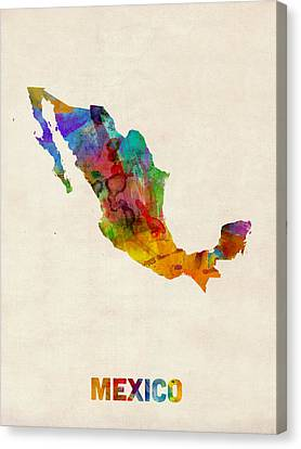 Mexico Watercolor Map Canvas Print by Michael Tompsett
