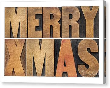 Meyy Xmas In Wood Type Canvas Print