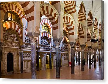 Mezquita Prayer Hall In Cordoba Canvas Print by Artur Bogacki