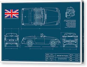 Mgb Mk 4 Blueplanprint Canvas Print by Douglas Switzer