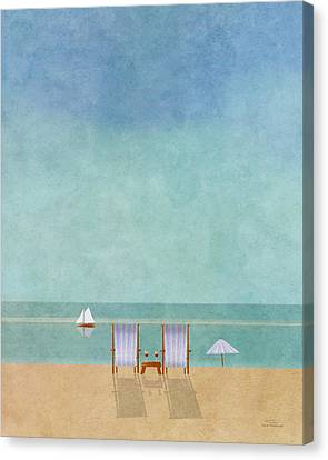 Chairs Canvas Print - Mgl - Bathers 02 by Joost Hogervorst
