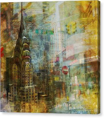 Mgl - City Collage - New York 04 Canvas Print by Joost Hogervorst